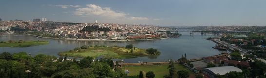 Istanbul, Turkey, and the Golden Horn. A view of the old part of Istanbul, Turkey, with the Golden Horn waterway which leads into the Bosphorus Strait stock photos