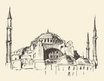 Istanbul, Turkey, Hagia Sophia, Engraved Sketch Royalty Free Stock Image