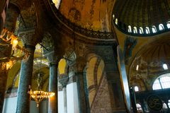 ISTANBUL, TURKEY: Hagia Sophia interior. Hagia Sophia is the greatest monument of Byzantine Culture.  stock photos