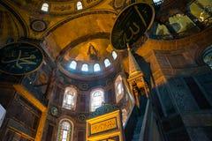 ISTANBUL, TURKEY: Hagia Sophia interior. Hagia Sophia is the greatest monument of Byzantine Culture.  stock photo