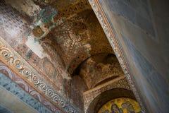 ISTANBUL, TURKEY: Hagia Sophia interior. Mosaic icon in Hagia Sophia. Virgin Mary and Saints. Byzantine Culture stock image