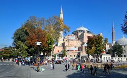 Hagia Sophia. ISTANBUL TURKEY 09 30, 2013: Hagia Sophia was at first a Catholic Church built under Justinian I, and was a Eastern Catholic cathedral & Greek royalty free stock photography