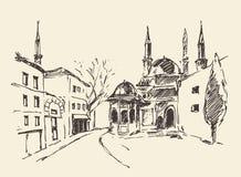 Istanbul, Turkey, harbor, vintage engraved sketch Royalty Free Stock Images