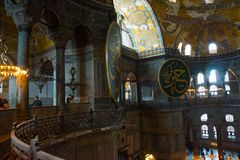 ISTANBUL, Turkey: Interior of the Hagia Sofia Mosque in Istanbul,Turkey. Hagia Sophia is former Orthodox patriarchal basilica, stock images