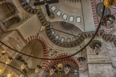 An interior view of Suleymaniye Mosque (Suleymaniye Camisi), Ist. ISTANBUL, TURKEY - 13,03,2016 : An interior view of Suleymaniye Mosque (Suleymaniye Camisi) Royalty Free Stock Images