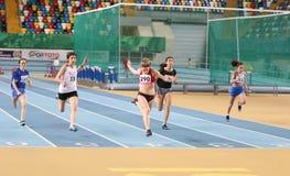 Turkish Athletic Federation Olympic Threshold Indoor Competition. ISTANBUL, TURKEY - JANUARY 06, 2018: Athletes running 60 meters during Turkish Athletic Stock Photo