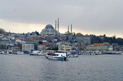 Cruise ferries in Eminonu Port near Yeni Cami and Galata Bridge Royalty Free Stock Photography