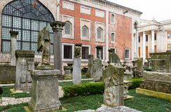 Istanbul, Turkey - January 01, 2021: Remnants of ancient columns in the courtyard of Archaeological museum in Istanbul