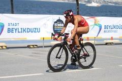 Istanbul Beylikduzu ETU Triathlon European Cup 2017. ISTANBUL, TURKEY - JULY 30, 2017: Athlete competing in cycling component of Istanbul Beylikduzu ETU Stock Image