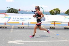 Istanbul Beylikduzu ETU Triathlon European Cup 2017. ISTANBUL, TURKEY - JULY 30, 2017: Athlete competing in running component of Istanbul Beylikduzu ETU Stock Photography