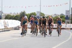 Istanbul Beylikduzu ETU Triathlon European Cup 2017. ISTANBUL, TURKEY - JULY 30, 2017: Athletes competing in cycling component of Istanbul Beylikduzu ETU Royalty Free Stock Photos