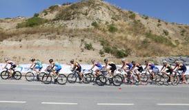 Istanbul Beylikduzu ETU Triathlon European Cup 2017. ISTANBUL, TURKEY - JULY 30, 2017: Athletes competing in cycling component of Istanbul Beylikduzu ETU royalty free stock images