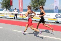 Istanbul Beylikduzu ETU Triathlon European Cup 2017. ISTANBUL, TURKEY - JULY 30, 2017: Athletes competing in running component of Istanbul Beylikduzu ETU Royalty Free Stock Image