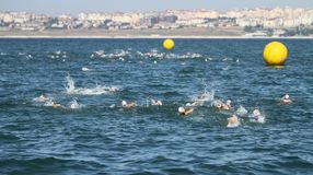 Istanbul Beylikduzu ETU Triathlon European Cup 2017. ISTANBUL, TURKEY - JULY 29, 2017: Athletes competing in swimming component of Istanbul Beylikduzu ETU Royalty Free Stock Photos