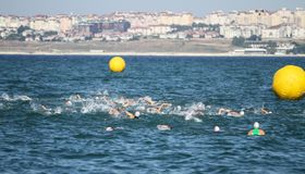 Istanbul Beylikduzu ETU Triathlon European Cup 2017. ISTANBUL, TURKEY - JULY 29, 2017: Athletes competing in swimming component of Istanbul Beylikduzu ETU Stock Photography