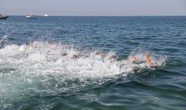 Istanbul Beylikduzu ETU Triathlon European Cup 2017. ISTANBUL, TURKEY - JULY 30, 2017: Athletes competing in swimming component of Istanbul Beylikduzu ETU Royalty Free Stock Photo