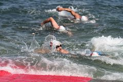 Istanbul Beylikduzu ETU Triathlon European Cup 2017. ISTANBUL, TURKEY - JULY 29, 2017: Athletes competing in swimming component of Istanbul Beylikduzu ETU Stock Image