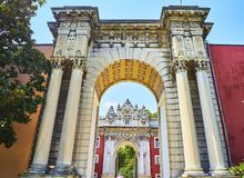 Imperial Gate of the Dolmabahce Palace. Besiktas district, Istan stock photography
