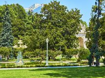 Main garden of the Dolmabahce Palace. Besiktas district, Istanbu royalty free stock image