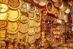 Beautiful decorative souvenir plates on the Istanbul market bazaar stock image