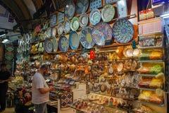Beautiful decorative souvenir plates on the Istanbul market bazaar stock photography