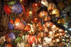 Beautiful multi-colored glass Arabic lights on the Istanbul market bazaar stock photography