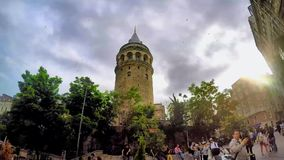 ISTANBUL, TURKEY- JUNE 9 2015: Galata Tower is a medieval stone tower in the Galata/Karaköy quarter of Istanbul stock video footage