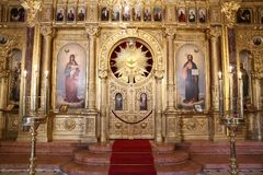 Bulgarian St. Stephen Church in Istanbul, Turkey. ISTANBUL, TURKEY - JUNE 03, 2018: Interior of Bulgarian St. Stephen Church. Church was built in 1870 stock photography