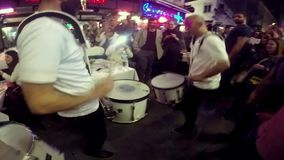 ISTANBUL, TURKEY - JUNE 09, 2015: Musicians performing drum and trompet in famous Nevizade Street, center of nightlife of Taksim B stock video footage
