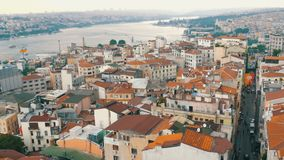 Istanbul, Turkey - June 12, 2019: Panoramic view of beautiful Istanbul. Bridge, ships, roofs, cars, houses, sky stock video footage