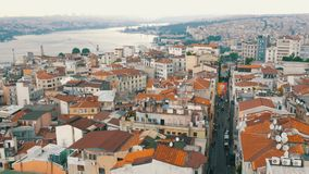 Istanbul, Turkey - June 12, 2019: Panoramic view of beautiful Istanbul. Bridge, ships, roofs, cars, houses, sky stock video