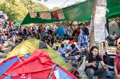 People living in tents during the protests against demolition of Taksim Gezi Park in Istanbul, Turkey stock photo