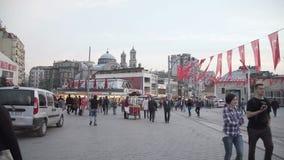 ISTANBUL, TURKEY, JUNE 3 2017: People on Taksim Square in Istanbul at evening. Taksim Square in Istanbul at evening stock video footage