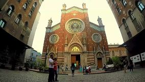 ISTANBUL, TURKEY - JUNE 09, 2015: People visiting church of St. Anthony of Padua basilica Roman Catholic Church on Istiklal Avenue stock footage