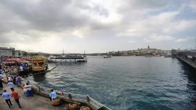 ISTANBUL, TURKEY - JUNE 09, 2015: Ship traffic timelapse in Eminonu. Eminonu is the heart of the walled city of Istanbul the focus. Of a history of incredible stock footage