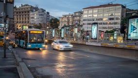 Timelapse of traffic at Karakoy Meydan Square. Galata neighborhood its very close to Istiklal Avenue . Istanbul, Turkey - June 2017: Timelapse of traffic at stock video
