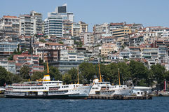 Istanbul, Turkey Kabatas port. Kabatas port and passenger ferrys royalty free stock images
