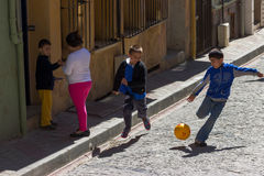 Istanbul, Turkey. Kids playing on the street,Balat Istanbul, Turkey stock image
