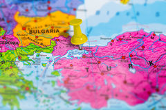 Istanbul Turkey map. Istanbul city in Turkey pinned on colorful political map of europe. Geopolitical school atlas. Tilt shift effect royalty free stock photos