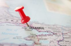 Istanbul Turkey map. Map showing Istanbul Turkey with a red pin royalty free stock image