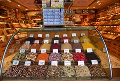 Shopwindow with variety of many spices on turkish market royalty free stock photo