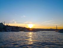 Istanbul, Turkey-March 30, 2018: The beauty of Golden Horn in Is stock photography