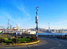 Istanbul, Turkey-March 31, 2018: The ferry port, take the car in. To the big ship to cross the Marmara Sea to get to Bursa in the morning royalty free stock photography