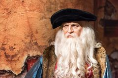 Leonardo Da Vinci wax figure at Madame Tussauds museum in Istanbul. stock image