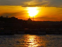 Istanbul, Turkey-March 30, 2018: The sun is falling down from th royalty free stock photography