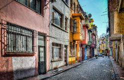 Istanbul, Turkey - March 2, 2013: Traditional architecture in Istanbul. The neighborhood of Fener belongs to the UNESCO World Heri. Traditional architecture in stock photo