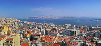 ISTANBUL, TURKEY - MARCH 23, 2012: View from the tower of Galata. stock photo