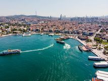 Istanbul, Turkey - May 23, 2018: Aerial Drone View of Kadikoy Seaside in Istanbul. royalty free stock photography