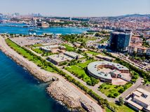 Istanbul, Turkey - May 23, 2018: Aerial Drone View of Water Treatment Plant Near Seaside in Kadikoy Square in Istanbul stock images