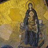 Example of Christian art in Hagia Sophia Museum in Istanbul. ISTANBUL, TURKEY - MAY 26 : Example of Christian art in Hagia Sophia Museum in Istanbul Turkey on Royalty Free Stock Image